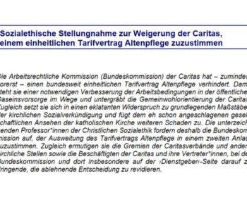 Sozialethische Stellungnahme Caritasverband