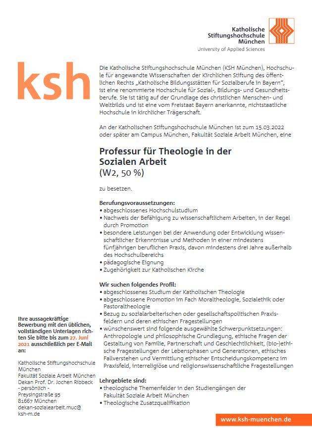 Stellenausschreibung Professur KSH München